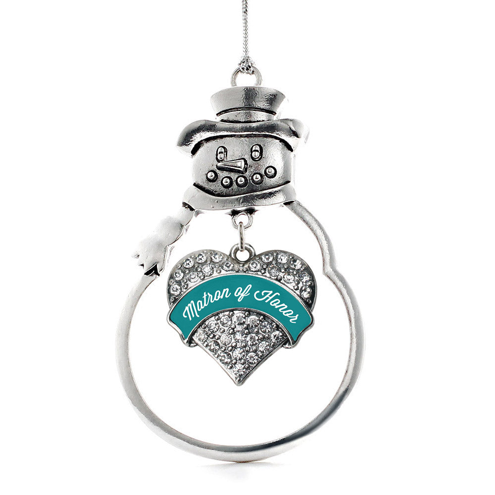 Dark Teal Matron of Honor Pave Heart Charm Christmas / Holiday Ornament