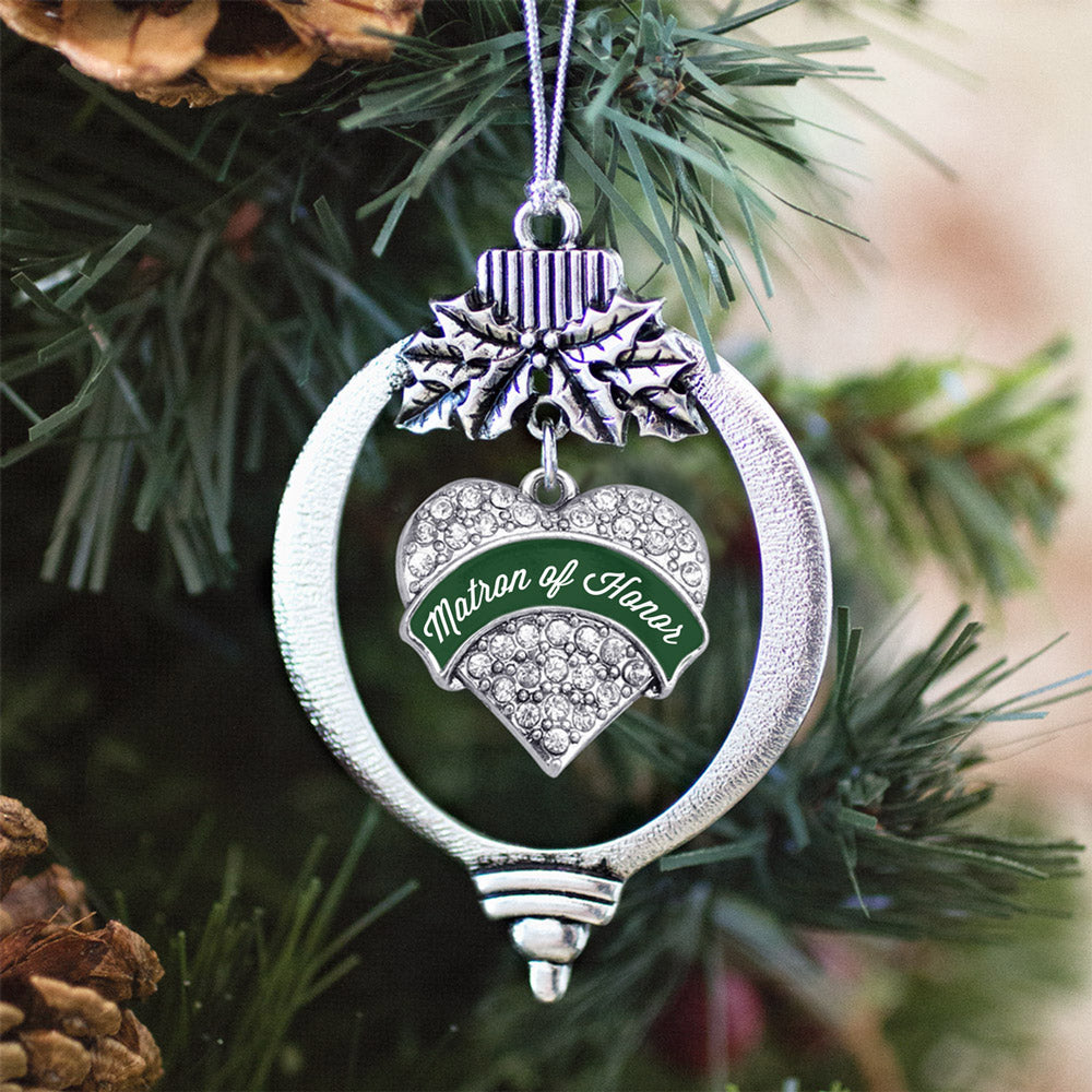 Forest Green Matron of Honor Pave Heart Charm Christmas / Holiday Ornament
