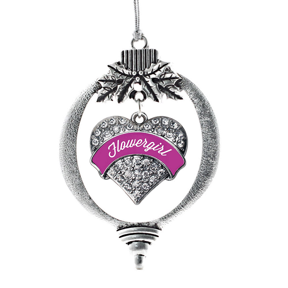 Magenta Flower Girl Pave Heart Charm Christmas / Holiday Ornament
