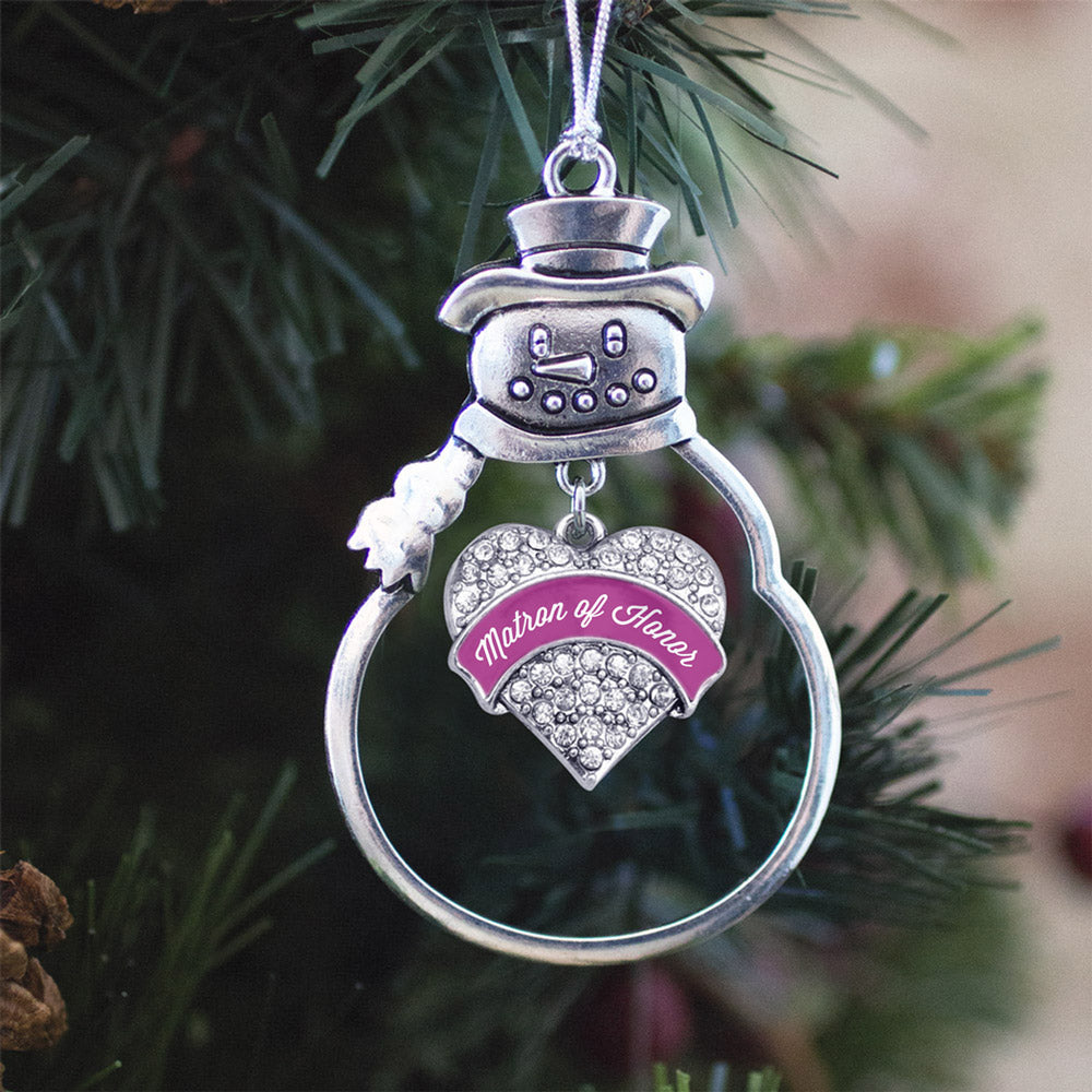 Magenta Matron of Honor Pave Heart Charm Christmas / Holiday Ornament