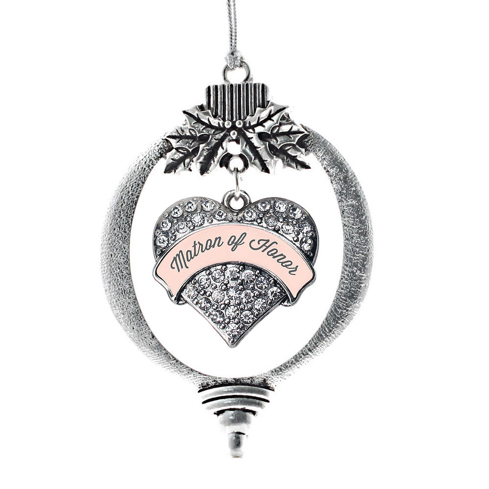 Nude Matron of Honor Pave Heart Charm Christmas / Holiday Ornament