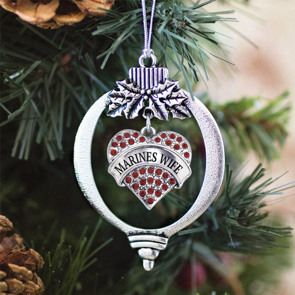 Marines Wife Pave Heart Charm Christmas / Holiday Ornament