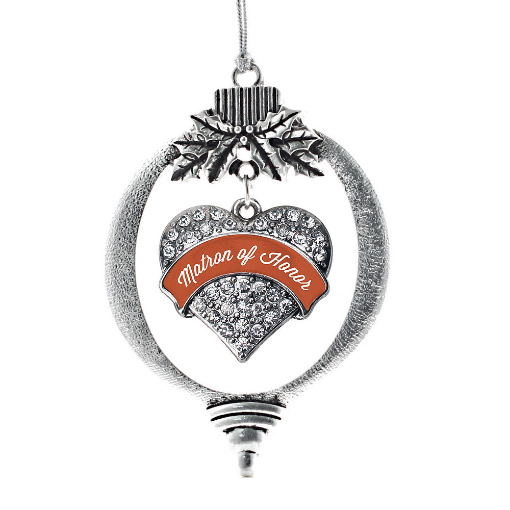 Rust Matron of Honor Pave Heart Charm Christmas / Holiday Ornament