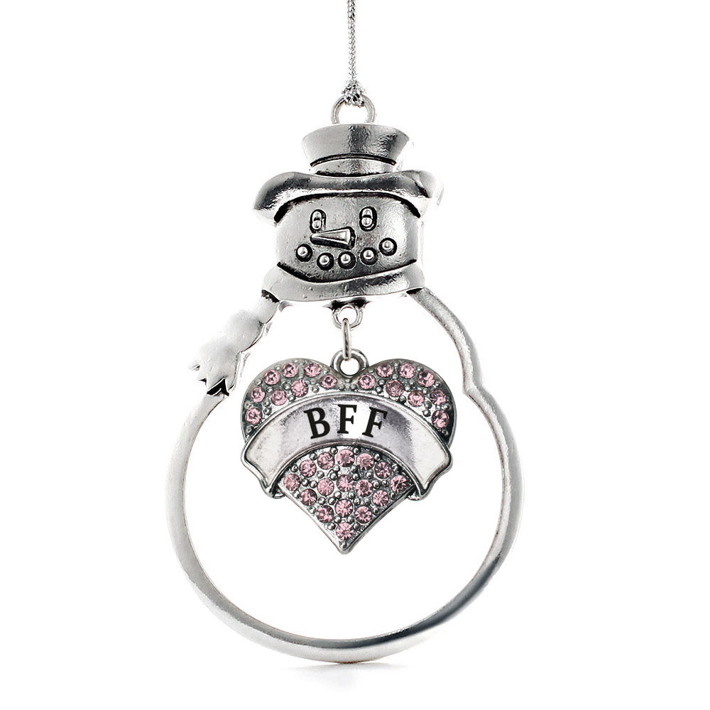 Pink BFF Pave Heart Charm Christmas / Holiday Ornament