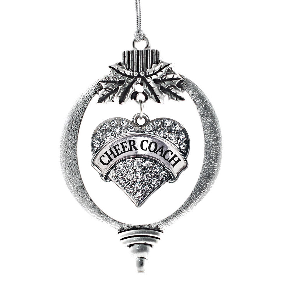 Cheer Coach Pave Heart Charm Christmas / Holiday Ornament