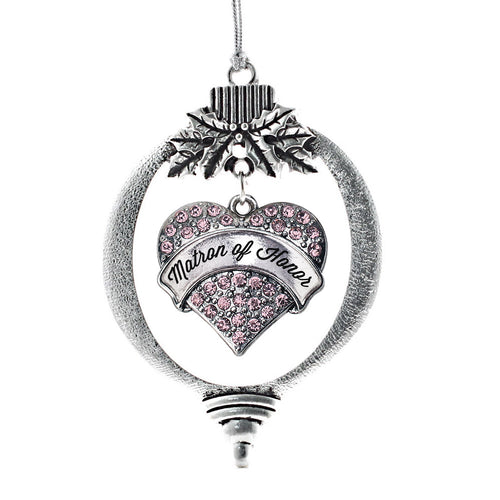 Script Pink Matron of Honor Pave Heart Charm Christmas / Holiday Ornament