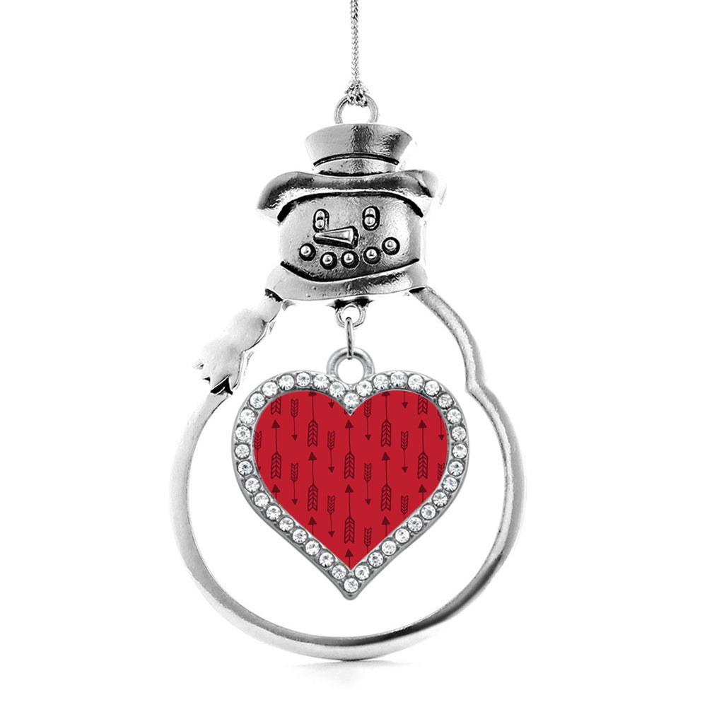 Red Arrow Pattern Open Heart Charm Christmas / Holiday Ornament
