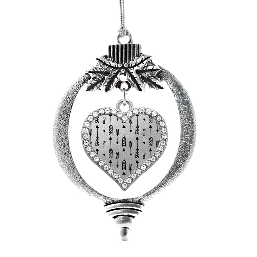 Arrow Pattern Open Heart Charm Christmas / Holiday Ornament