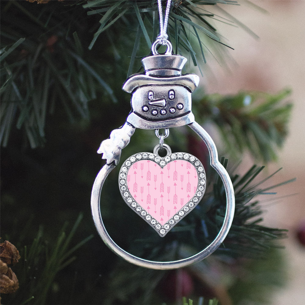 Pink Arrow Pattern Open Heart Charm Christmas / Holiday Ornament
