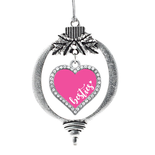 Pink Besties Open Heart Charm Christmas / Holiday Ornament