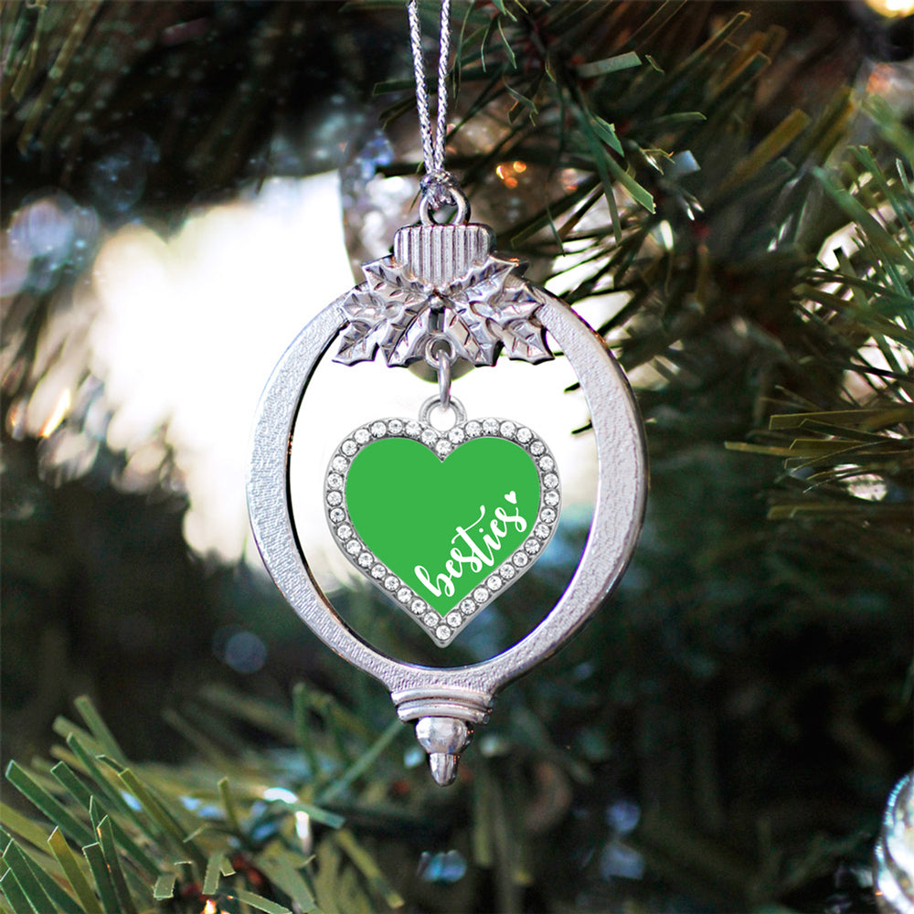 Green Besties Open Heart Charm Christmas / Holiday Ornament