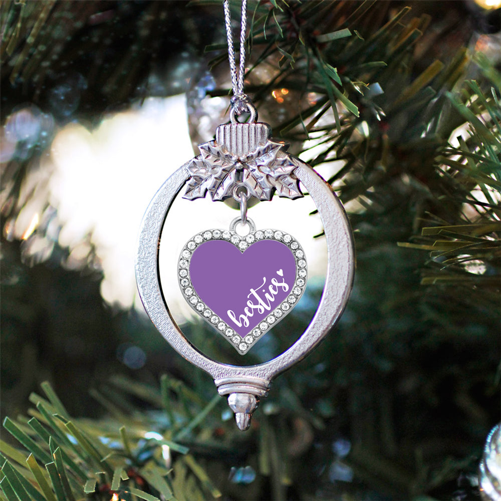 Purple Besties Open Heart Charm Christmas / Holiday Ornament