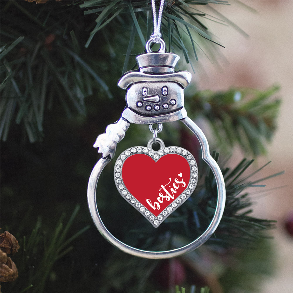 Red Besties Open Heart Charm Christmas / Holiday Ornament