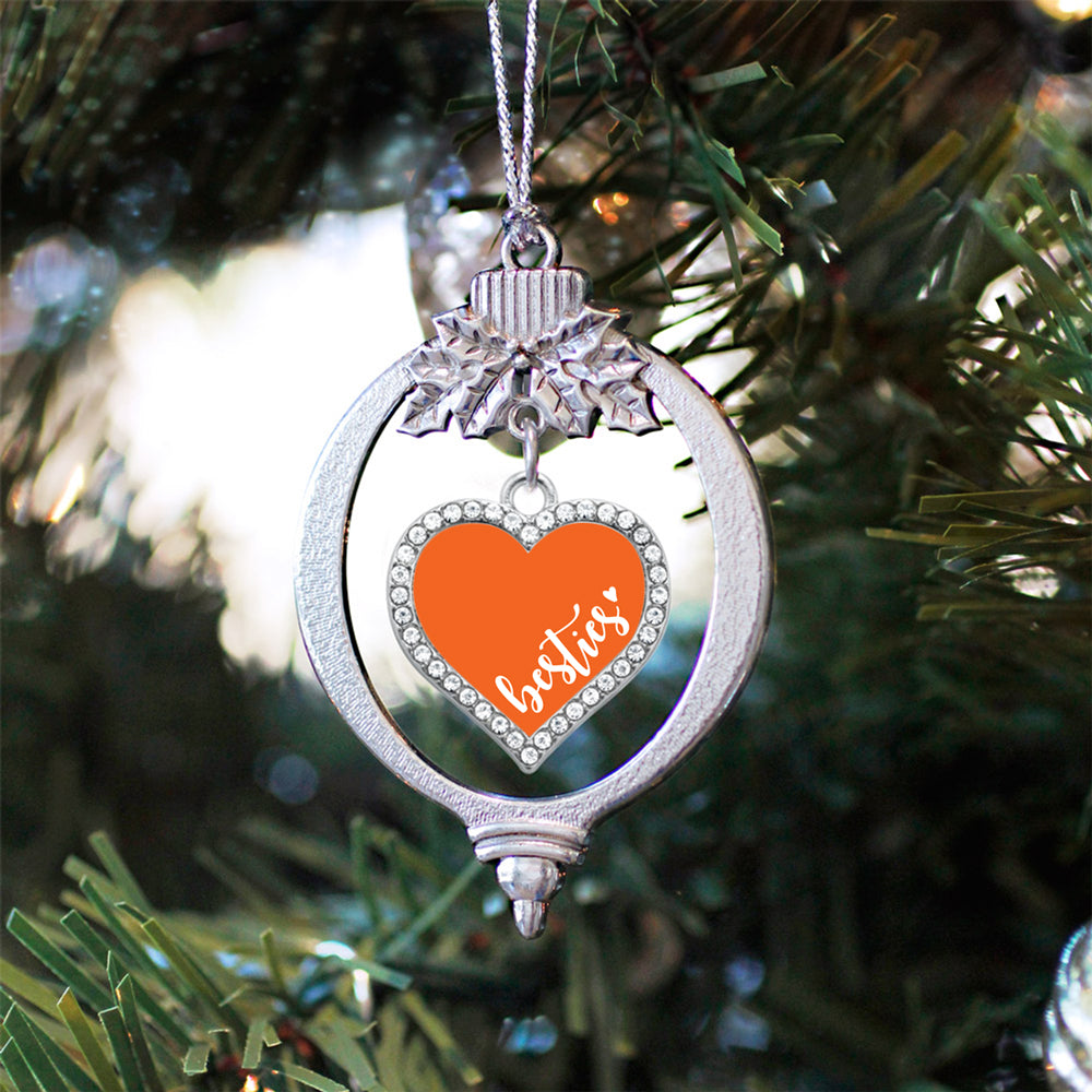 Orange Besties Open Heart Charm Christmas / Holiday Ornament
