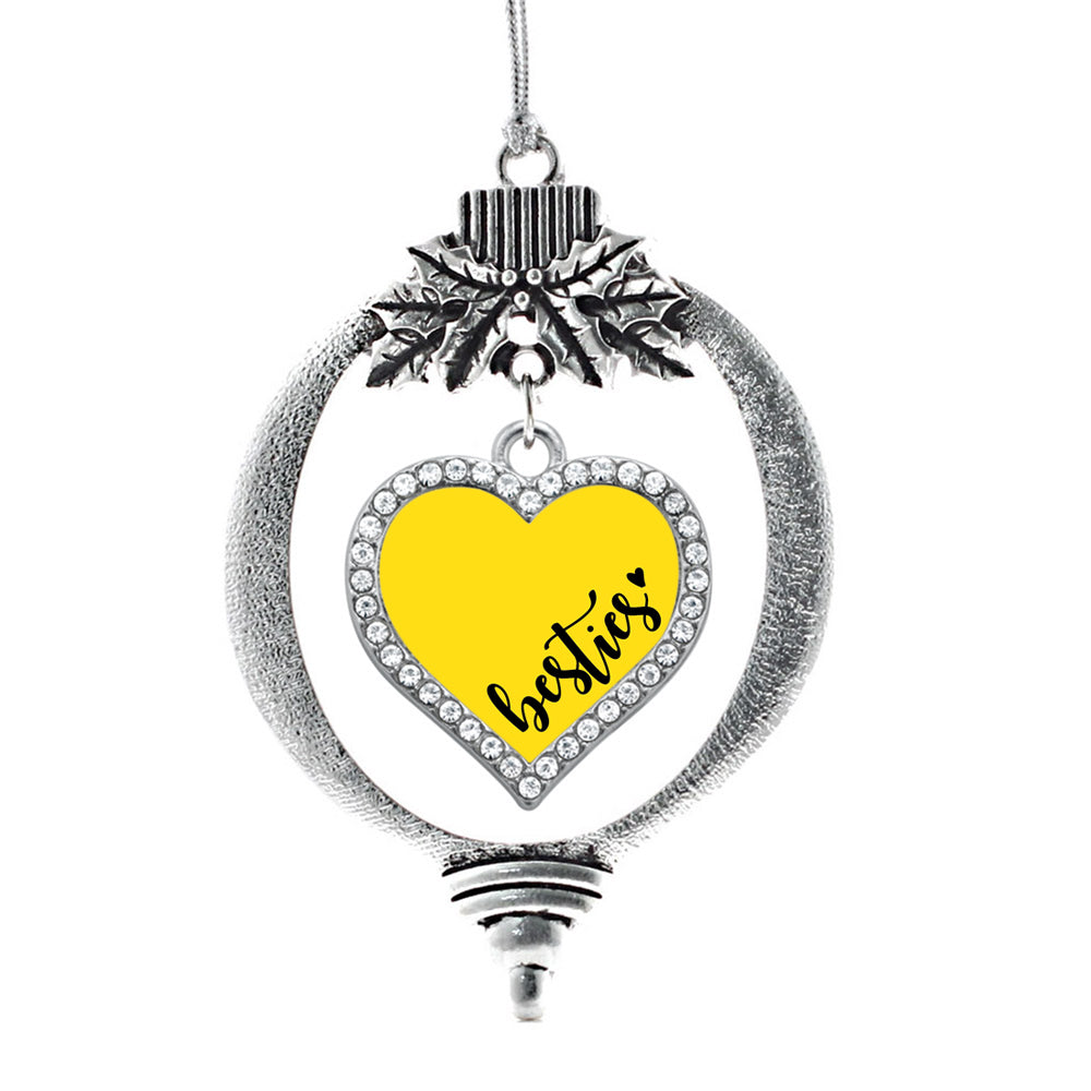 Yellow Besties Open Heart Charm Christmas / Holiday Ornament
