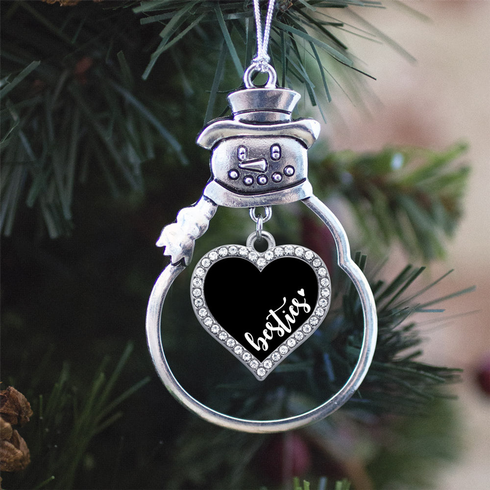 Black and White Besties Open Heart Charm Christmas / Holiday Ornament