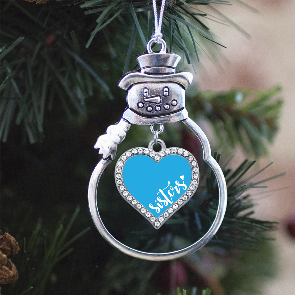 Blue Sisters Open Heart Charm Christmas / Holiday Ornament