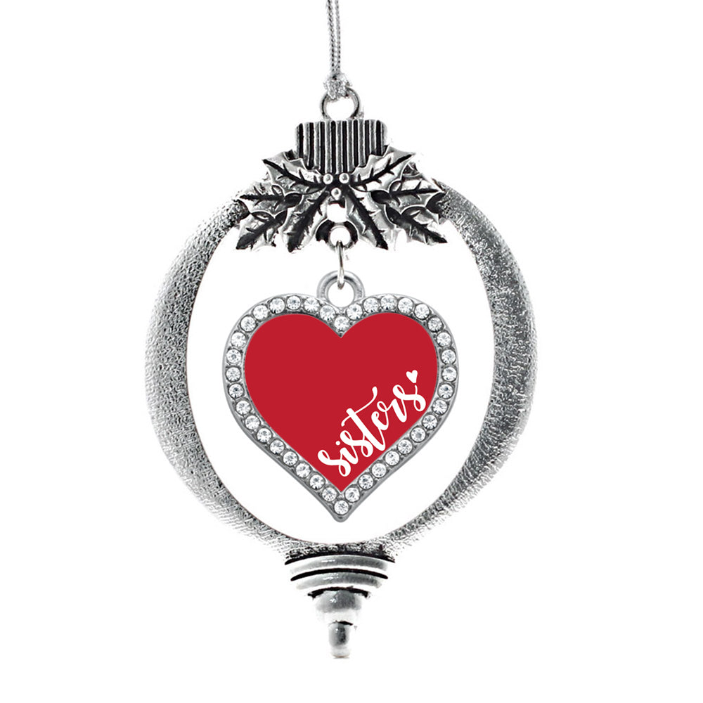Red Sisters Open Heart Charm Christmas / Holiday Ornament