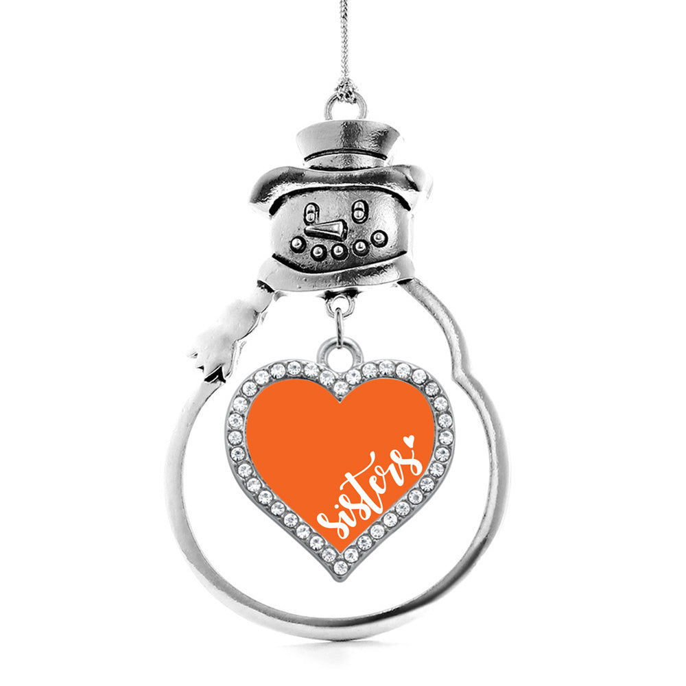 Orange Sisters Open Heart Charm Christmas / Holiday Ornament