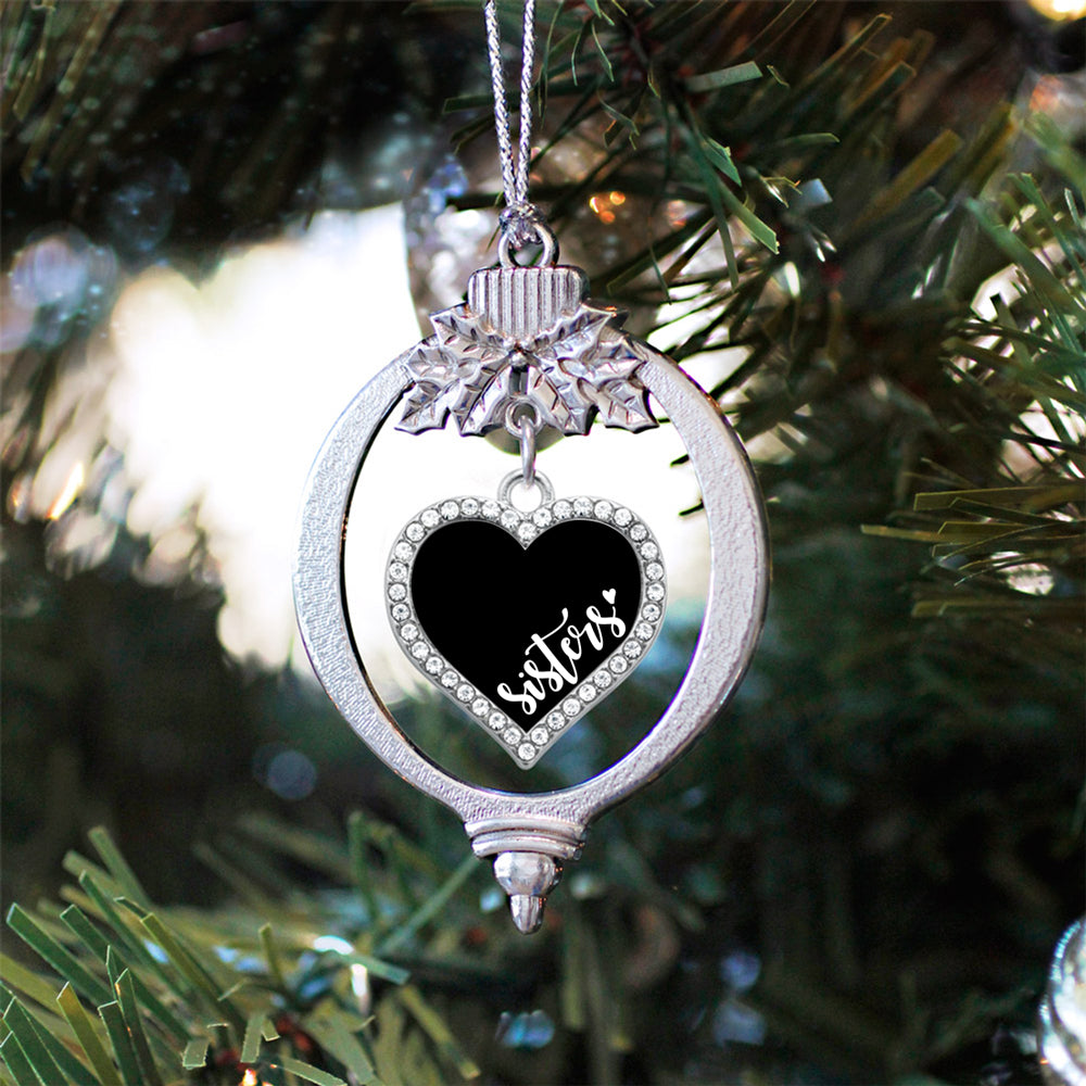 Black and White Sisters Open Heart Charm Christmas / Holiday Ornament