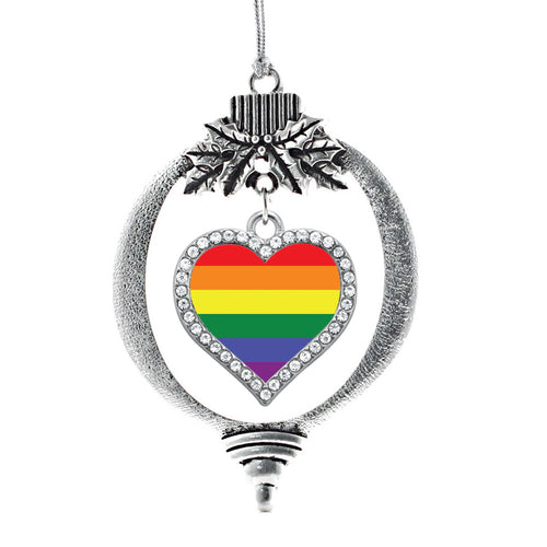 LGBT Flag Open Heart Charm Christmas / Holiday Ornament