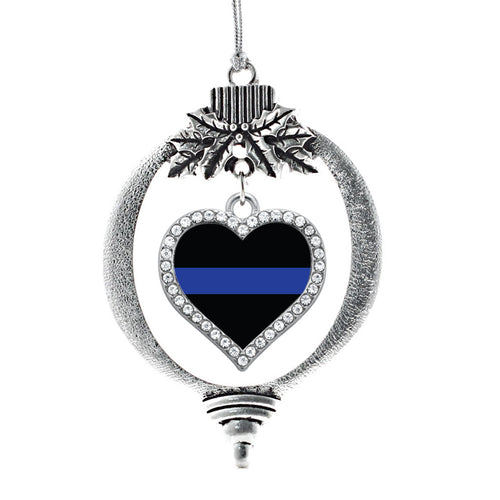 Thin Blue Line Police Support Open Heart Charm Christmas / Holiday Ornament