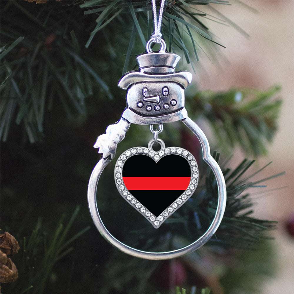 Thin Red Line Firefighter Support Open Heart Charm Christmas / Holiday Ornament