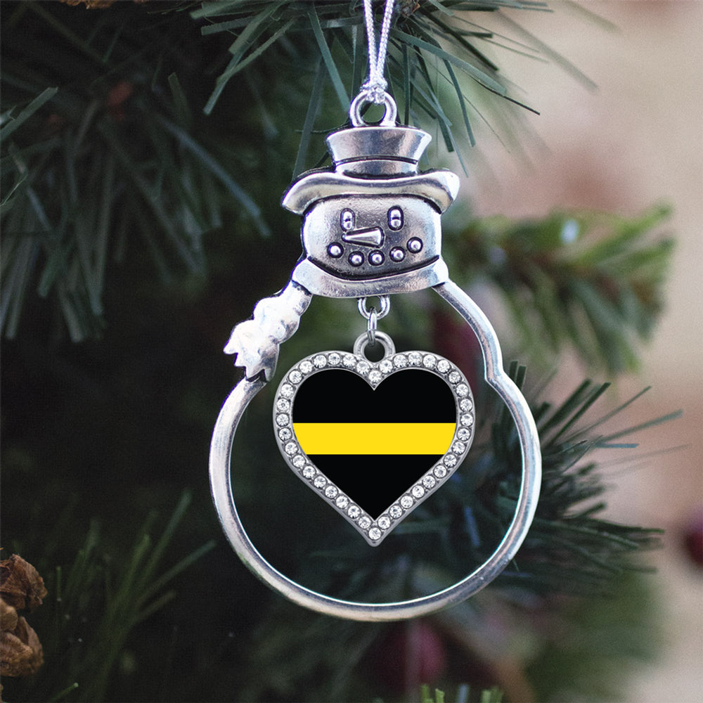 Thin Yellow Line Dispatcher Support Open Heart Charm Christmas / Holiday Ornament