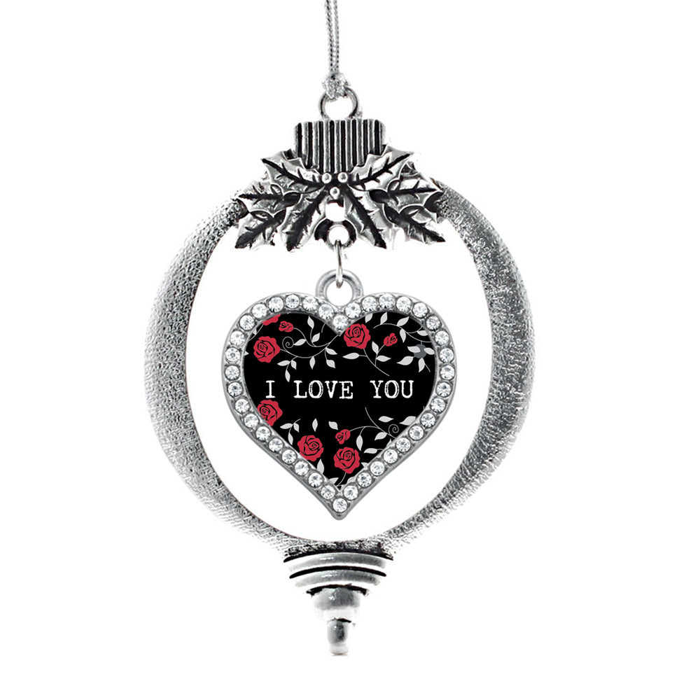 Red Roses I Love You Open Heart Charm Christmas / Holiday Ornament