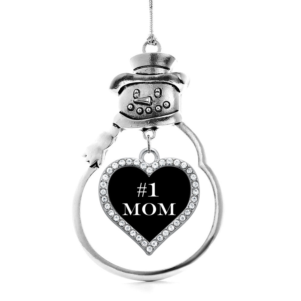#1 Mom Open Heart Charm Christmas / Holiday Ornament