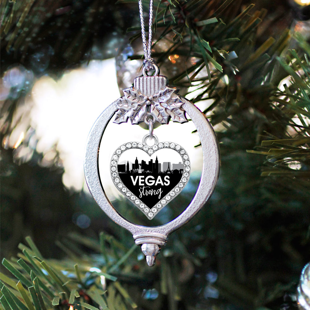 Vegas Strong Cityscape Open Heart Charm Christmas / Holiday Ornament