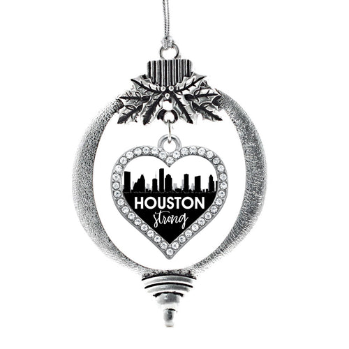 Houston Strong Cityscape Open Heart Charm Christmas / Holiday Ornament