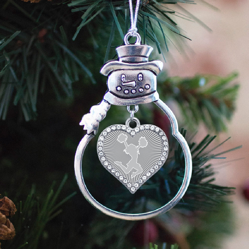 Gray Cheerleader Open Heart Charm Christmas / Holiday Ornament