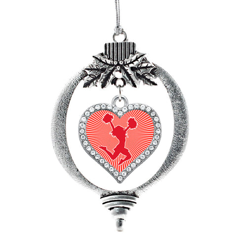 Red Cheerleader Open Heart Charm Christmas / Holiday Ornament