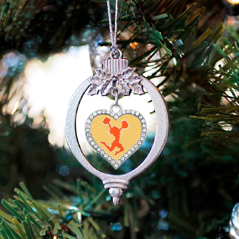 Orange Cheerleader Open Heart Charm Christmas / Holiday Ornament