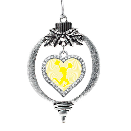 Yellow Cheerleader Open Heart Charm Christmas / Holiday Ornament