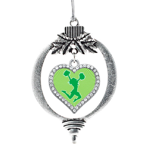 Green Cheerleader Open Heart Charm Christmas / Holiday Ornament