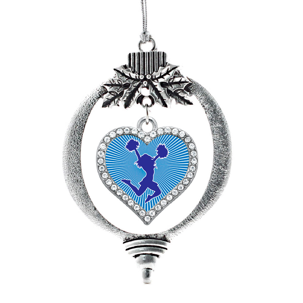 Blue Cheerleader Open Heart Charm Christmas / Holiday Ornament
