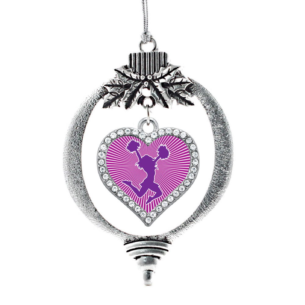 Purple Cheerleader Open Heart Charm Christmas / Holiday Ornament