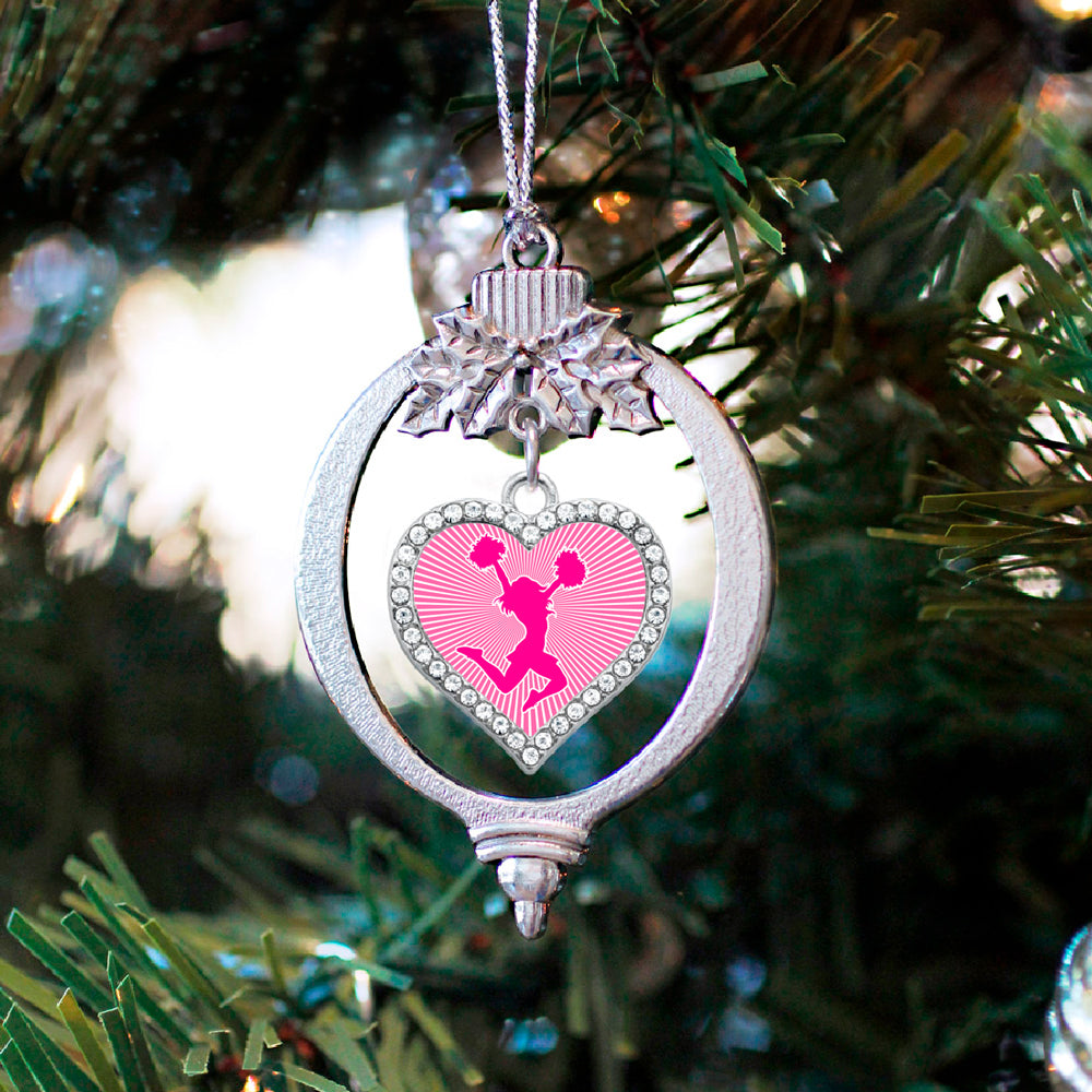 Pink Cheerleader Open Heart Charm Christmas / Holiday Ornament