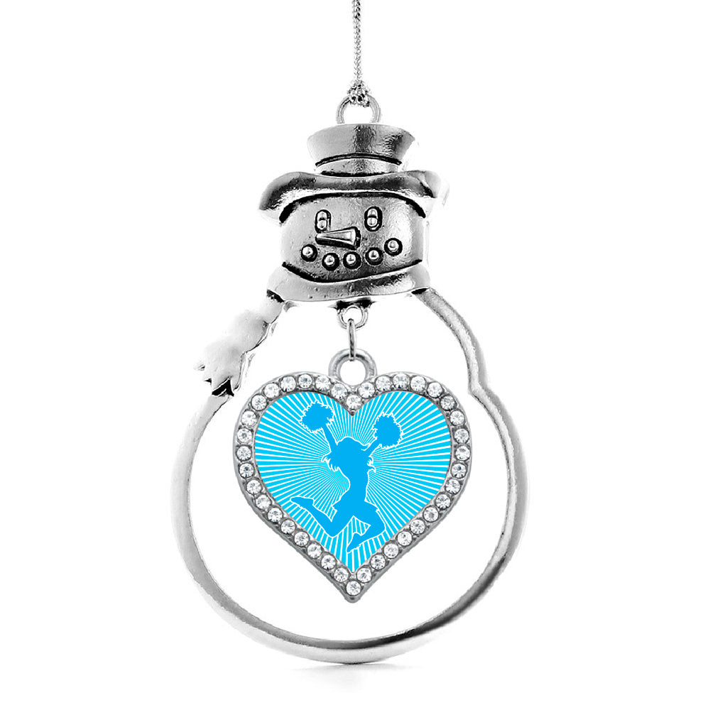 Light Blue Cheerleader Open Heart Charm Christmas / Holiday Ornament