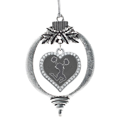 Black and White Cheerleader Open Heart Charm Christmas / Holiday Ornament