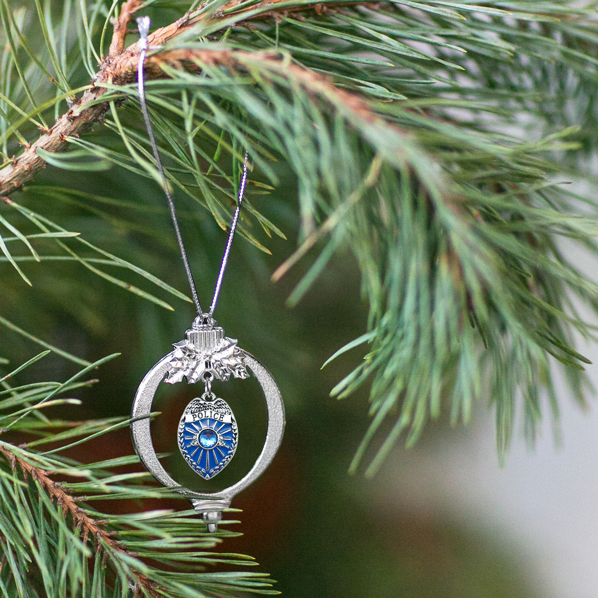 Police Badge Charm Christmas / Holiday Ornament