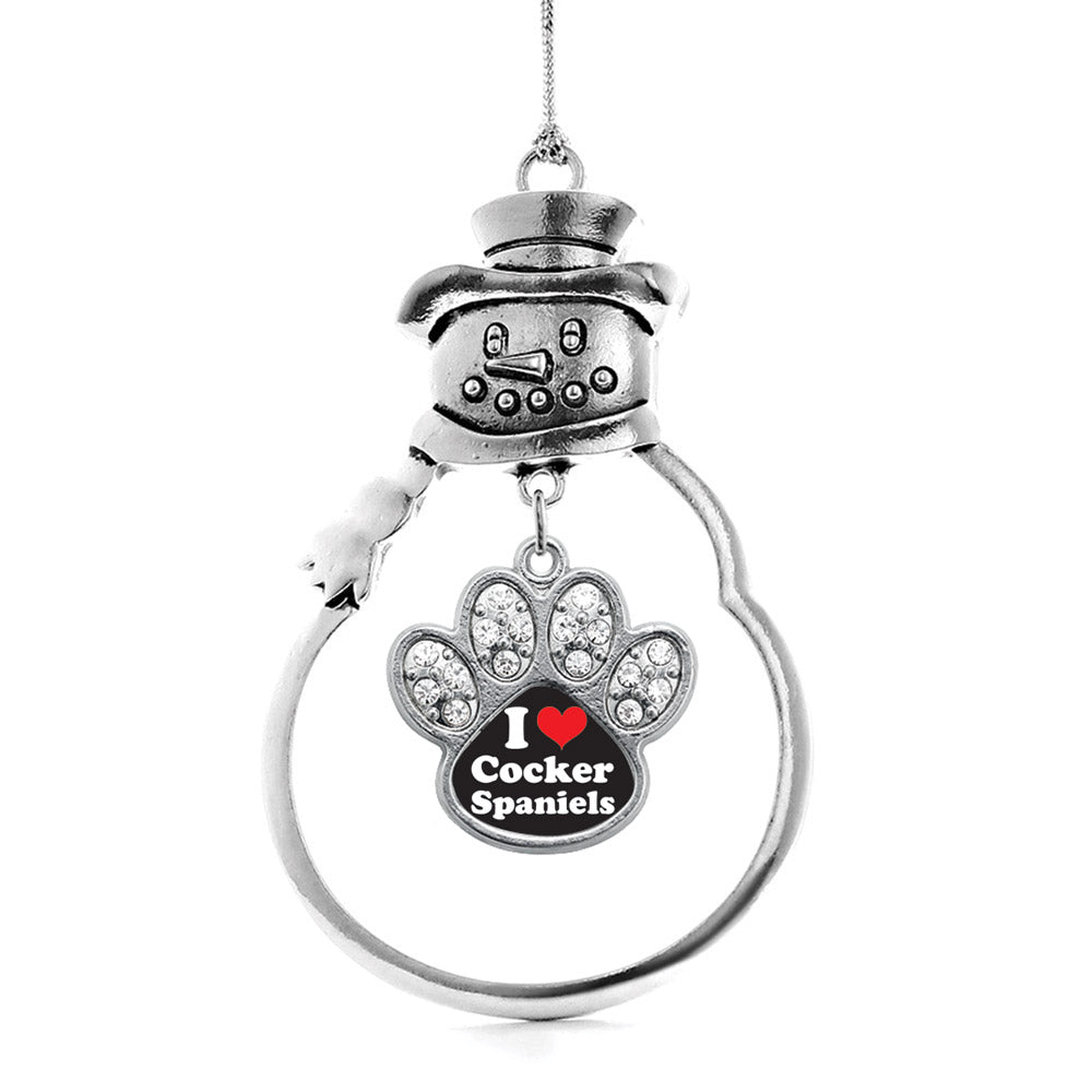 I Love Cocker Spaniels Pave Paw Print Charm Christmas / Holiday Ornament
