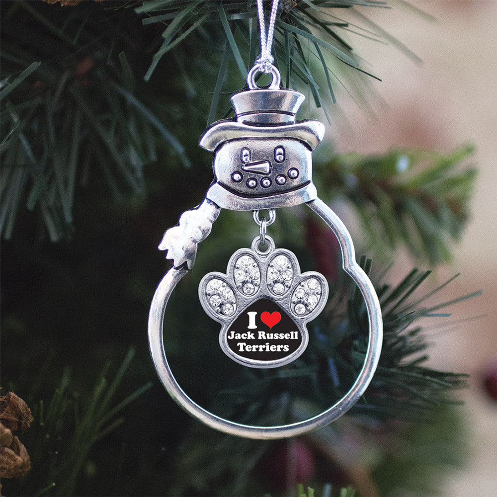 I Love Jack Russell Terriers Pave Paw Print Charm Christmas / Holiday Ornament