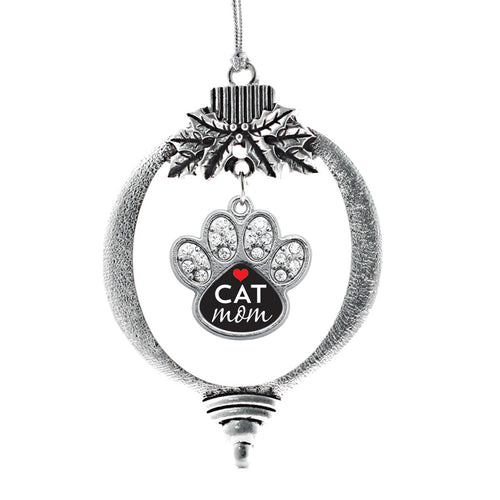 Cat Mom Pave Paw Print Charm Christmas / Holiday Ornament