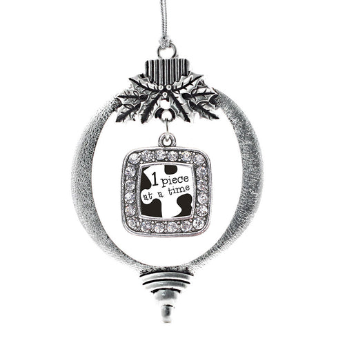 One Piece at a Time Autism Awareness Square Charm Christmas / Holiday Ornament
