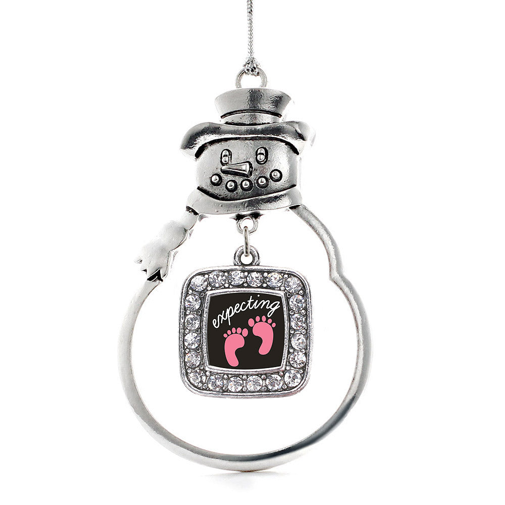 Expecting A Girl Footprints Square Charm Christmas / Holiday Ornament