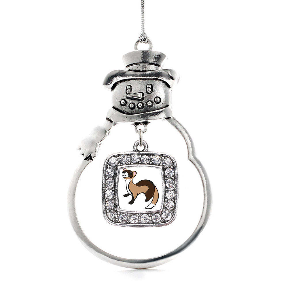 Ferret Square Charm Christmas / Holiday Ornament