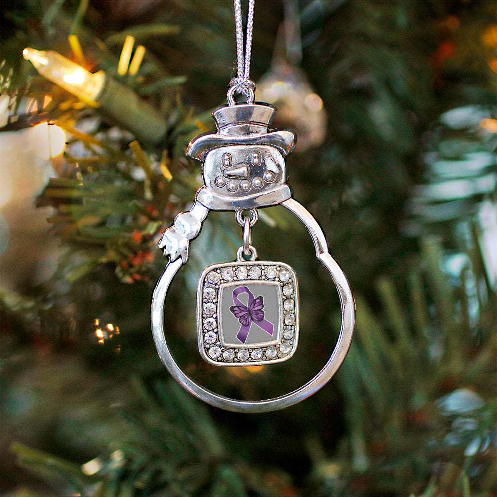 Fibromyalgia Awareness Square Charm Christmas / Holiday Ornament